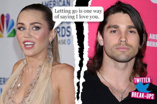 Twitter break-ups: Miley Cyrus and Justin Gaston