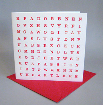Wordsearch Valentine's Card
