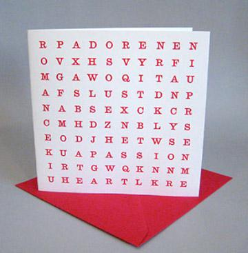 Wordsearch Valentine's Card