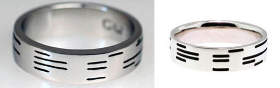 Binary encoded wedding ring