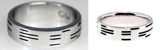Binary encoded wedding ring