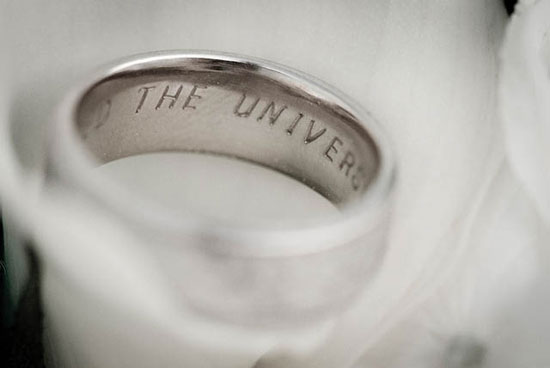 The universe unfolds engraved wedding ring