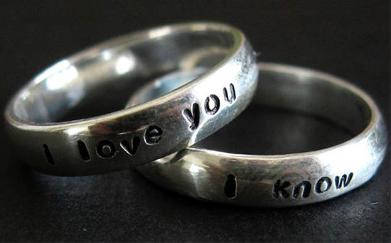 Wedding ring engraved with Princess Leia and Han Solo quote: I love you...I know.