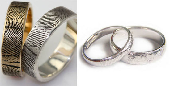 Engraved fingerprint wedding rings