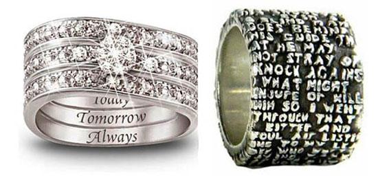 Two engraved wedding rings